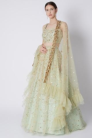 Lime Sequins Embroidered Lehenga Set by Riddhi Majithia