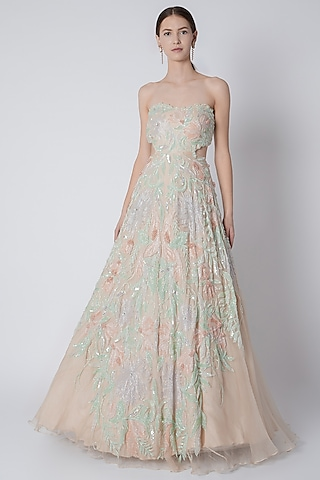 Ivory Floral Sequins Embroidered Gown by Riddhi Majithia