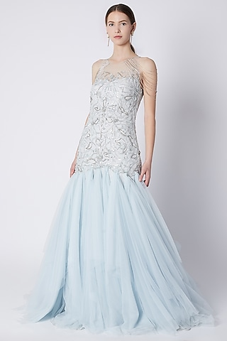 Sky Blue Embroidered Gown by Riddhi Majithia
