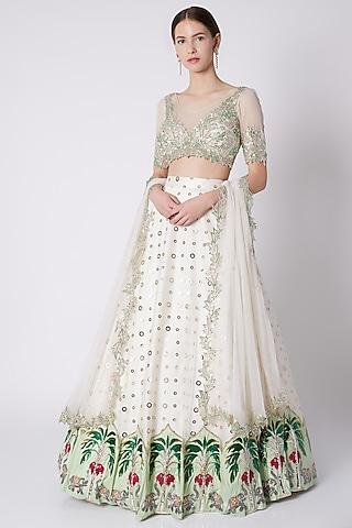 White Badla Embroidered Lehenga Set by Riddhi Majithia