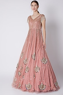 Blush Pink Bead & Pearl Embroidered Gown by Riddhi Majithia