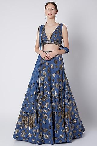 Cobalt Blue Salli Bead Embroidered Lehenga Set by Riddhi Majithia