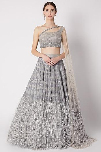 Grey Sequins Embroidered Lehenga Set by Riddhi Majithia