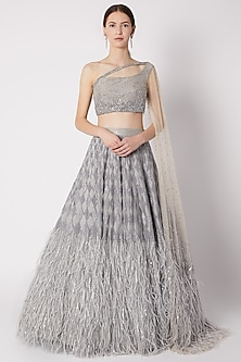 Grey Sequins Embroidered Lehenga Set by Riddhi Majithia