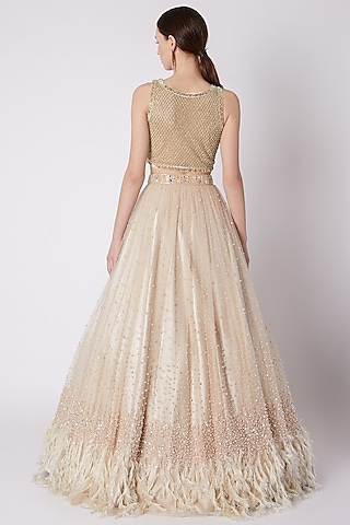 Nude Pearls Embroidered Lehenga With Blouse by Riddhi Majithia