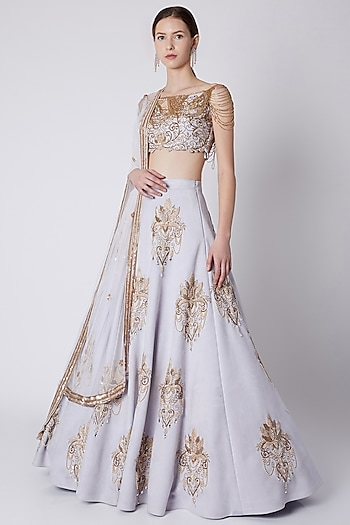 Lilac Bead Embroidered Lehenga Set by Riddhi Majithia