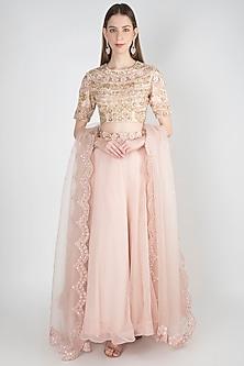 Powder Pink Embroidered Lehenga Set by Rishita and Mitali