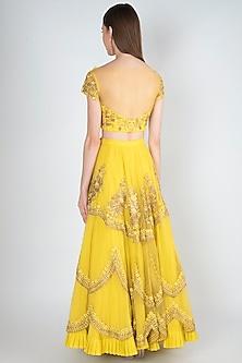 Lime Yellow Embroidered Lehenga Set by Rishita and Mitali