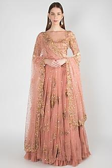Rose Pink Embroidered Lehenga Set by Rishita and Mitali