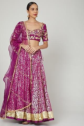 Purple Embroidered Lehenga Set by Rishita And Mitali