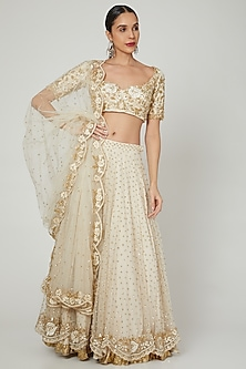Ivory Sequins Embroidered Lehenga Set by Rishita And Mitali