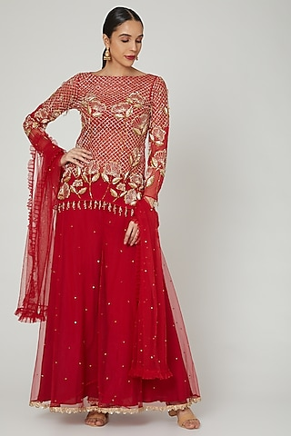 Red Embroidered Sharara Set by Rishita And Mitali