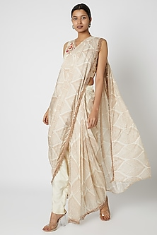 White Embroidered Pant Saree Set by Riraan By Rikita & Ratna-POPULAR PRODUCTS AT STORE