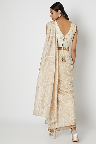 White Embroidered Pant Saree Set by Riraan By Rikita & Ratna