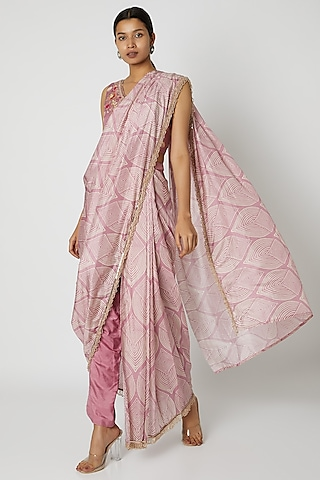 Pink Embroidered Pant Saree Set by Riraan By Rikita & Ratna