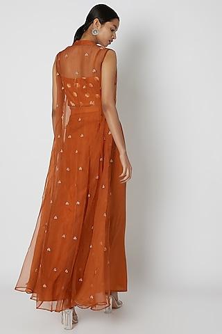Orange Embroidered Draped Skirt Set by Riraan By Rikita & Ratna