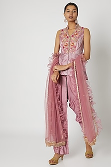 Pink Embroidered & Printed Dhoti Set by Riraan By Rikita & Ratna