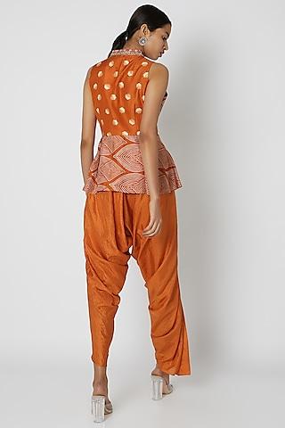 Orange Embroidered & Printed Dhoti Set by Riraan By Rikita & Ratna
