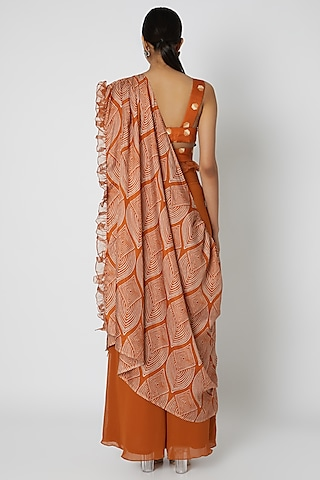 Orange Embroidered Palazzo Set by Riraan By Rikita & Ratna