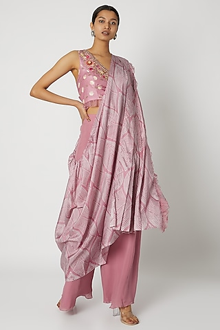 Pink Embroidered Blouse With Palazzo Pants by Riraan By Rikita & Ratna