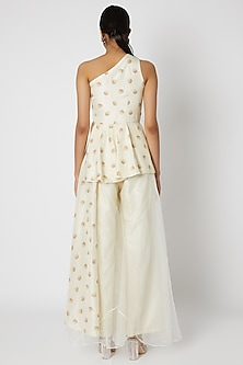 White Embroidered Top With Palazzo Pants by Riraan By Rikita & Ratna
