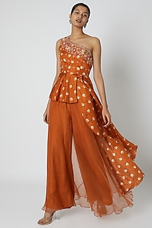 Orange Embroidered Top With Palazzo Pants & Dupatta by Riraan By Rikita & Ratna