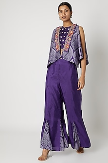 Purple Embroidered Bustier With Jacket & Palazzo Pants by Riraan By Rikita & Ratna