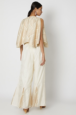 White Embroidered Bustier With Jacket & Palazzo Pants by Riraan By Rikita & Ratna