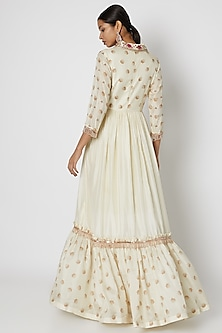 White Embroidered Anarkali With Dupatta by Riraan By Rikita & Ratna
