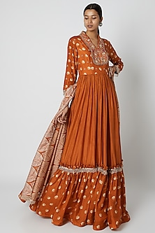Orange Embroidered Anarkali With Dupatta by Riraan By Rikita & Ratna