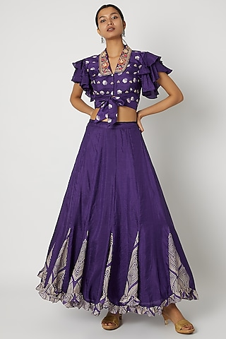Purple Embroidered Blouse With Lehenga by Riraan By Rikita & Ratna