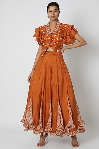 Orange Embroidered Blouse With Lehenga by Riraan By Rikita & Ratna