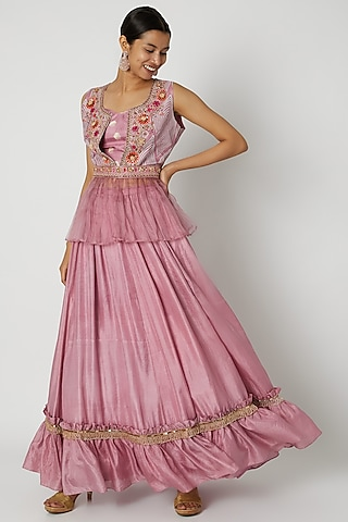 Pink Embroidered Jacket Lehenga Set by Riraan By Rikita & Ratna