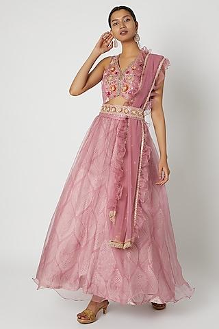 Pink Embroidered & Printed Lehenga Set by Riraan By Rikita & Ratna