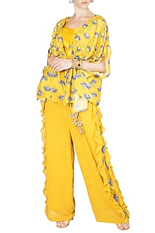 Tuscan Yellow Embroidered Printed Kimono With Bustier & Palazzo Pants by Riraan By Rikita & Ratna