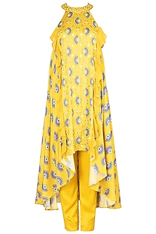 Tuscan Yellow Embroidered Printed Tunic With Pants by Riraan By Rikita & Ratna
