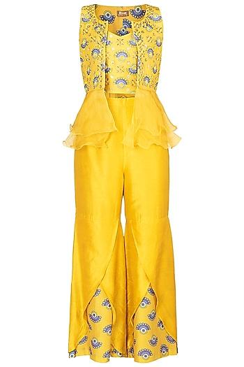 Tuscan Yellow Embroidered Printed Bustier With Sharara Pants & Jacket by Riraan By Rikita & Ratna