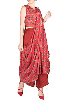 Charlotte Red Embroidered Printed Pant Saree Set by Riraan By Rikita & Ratna