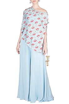 Azure Blue Embroidered Printed Top With Bustier & Flared Pants by Riraan By Rikita & Ratna