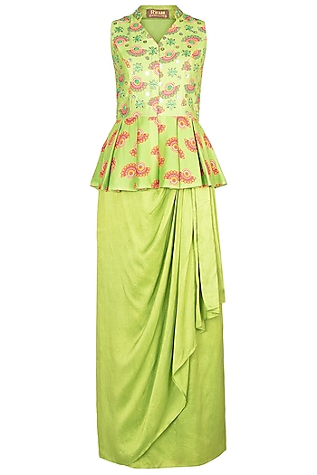 Matcha Green Embroidered Printed Peplum Top With Skirt by Riraan By Rikita & Ratna