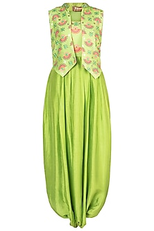 Matcha Green Embroidered Printed Jumpsuit With Jacket by Riraan By Rikita & Ratna