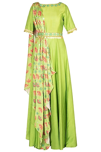 Matcha Green Anarkali With Embroidered Printed Dupatta & Belt by Riraan By Rikita & Ratna