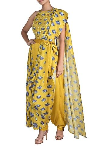 Tuscan Yellow Embroidered Printed Pant Saree Set by Riraan By Rikita & Ratna