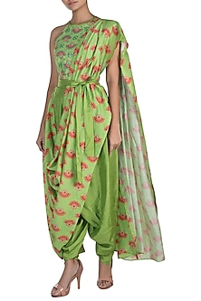 Matcha Green Embroidered Printed Pant Saree Set by Riraan By Rikita & Ratna