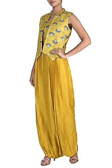 Tuscan Yellow Embroidered Printed Jumpsuit With Jacket by Riraan By Rikita & Ratna