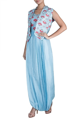 Azure Blue Embroidered Printed Jumpsuit With Jacket by Riraan By Rikita & Ratna