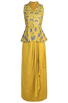 Tuscan Yellow Embroidered Printed Peplum Top With Skirt by Riraan By Rikita & Ratna