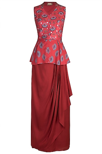 Charlotte Red Embroidered Printed Peplum Top With Skirt by Riraan By Rikita & Ratna