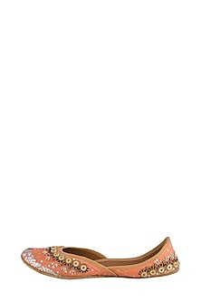 Peach Embellished Juttis by RISA