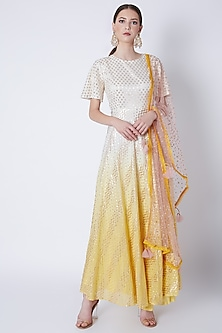 Yellow & White Anarkali With Dupatta by Rishi & Vibhuti-POPULAR PRODUCTS AT STORE